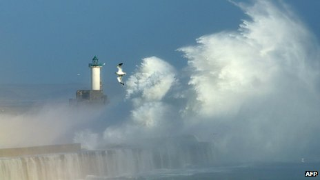 Waves crashing against dyke at Boulogne, France, 28 Oct 13
