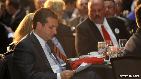 Ted Cruz looks over notes