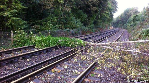 Blocked rail line at Beltring, Kent