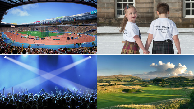 Impression of Hampden for Glasgow 2014, Homecoming kids (picture by Gareth Easton/VisitScotland), Saltire and Gleneagles