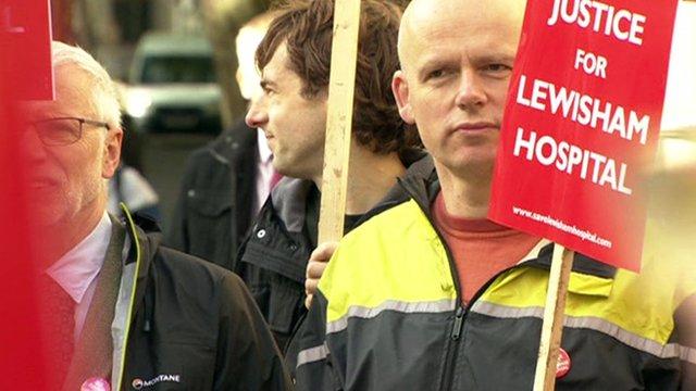Supporters of Lewisham Hospital outside court