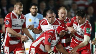 Gloucester playing against Perpignan