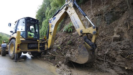 Clearing work at the A466 in Tintern on Monday