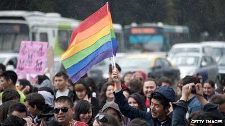 People march to demand the government a law for equal rights for the LGBT community in Santiago, Chile, on 29 September 2012