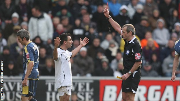 Leon Britton being sent off against Cardiff City in 2008