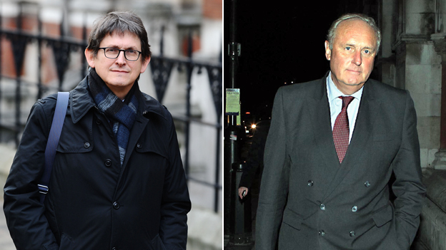 (l-r) Alan Rusbridger, editor of the Guardian, and Paul Dacre, Daily Mail editor