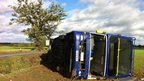 Double decker bus overturned in Hadleigh