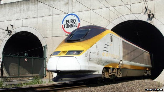 A Eurostar train exits Eurotunnel