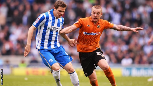 Wolves's Jamie O'Hara (right) playing against Brighton in May 2013, the last time he appeared for the club.