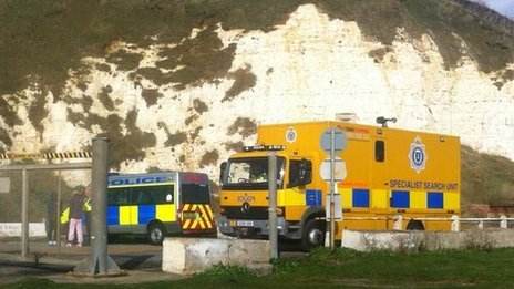 Specialist search teams at Newhaven beach