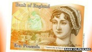 Bank of England Austen banknote design