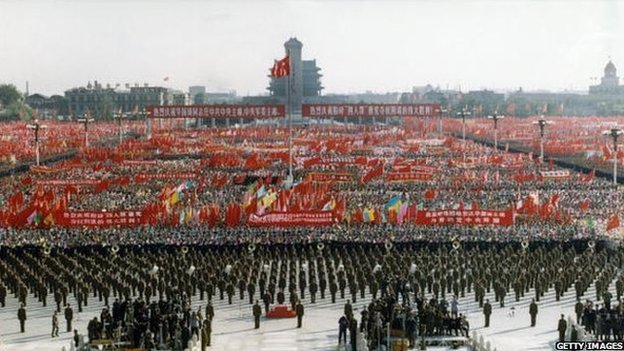 Official photo released by China in 1976 showing a major political event being held in Tiananmen square