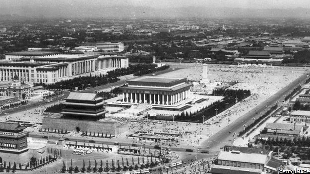 14th October 1977: Tiananmen Square in Beijing with the giant mausoleum of Chairman Mao in its centre