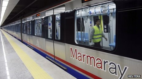 An engineer performs last-minute checks on a Marmaray train. Photo: 29 October 2013