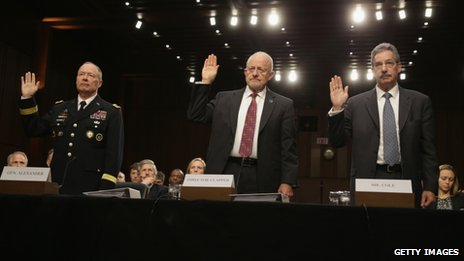 National Security Agency Director General Keith Alexander, Director of National Intelligence James Clapper and Deputy Attorney General James Cole appear before the Senate (Select) Intelligence Committee on 26 September 2013
