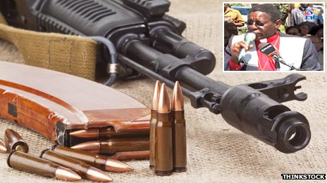 An AK-47 and ammunition with, inset, NTV screengrab of the pastor calling for weapons in church