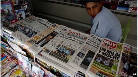 Newspaper stand in Argentina