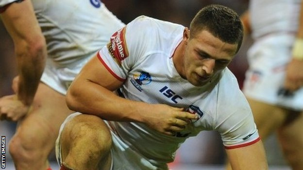 Sam Burgess playing for England against Australia in the Rugby World Cup
