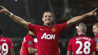 Javier Hernandez scores against Norwich