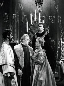 Nigel Davenport on the set of a TV production of Othello