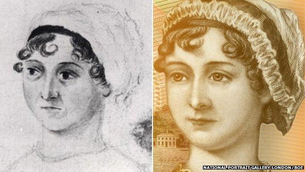 Jane Austen portrait by her sister Cassandra (left) and portrait by William Home Lizars