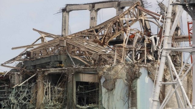 Damaged buildings at the Fukushima plant