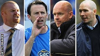 (l to r) Burnley manager Sean Dyche, Bolton Wanderers manager Dougie Freedman, Blackburn Rovers manager Henning Berg, Blackpool manager Michael Appleton