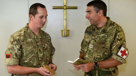 Cpl David Coles and Padre Martin Sheldon