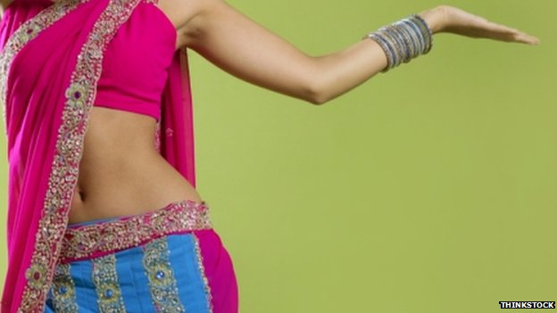 An actress dressed like a Bollywood star