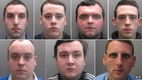 The jailed football fans (left to right, top row first): David Bone, Sean Fowle, Aaron Finbow, Ben Boylett, Daniel Clay, Jake Embery and Jason Butler