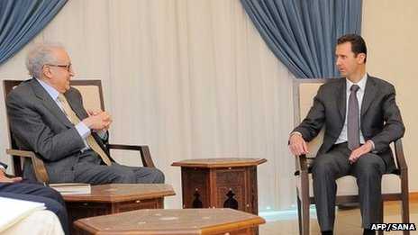 Lakhdar Brahimi meets President Bashar al-Assad in Damascus. Photo: 30 October 2013