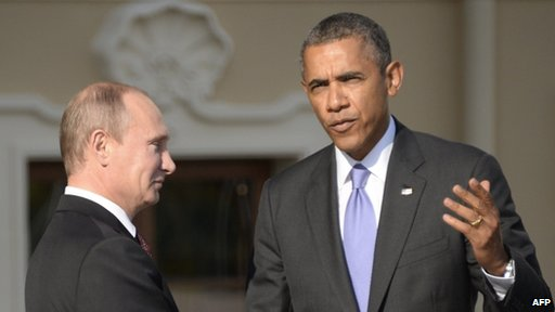 Russian President Vladimir Putin (L) welcomes US President Barack Obama at the start of the G20 summit in this 5 September 2013 file image