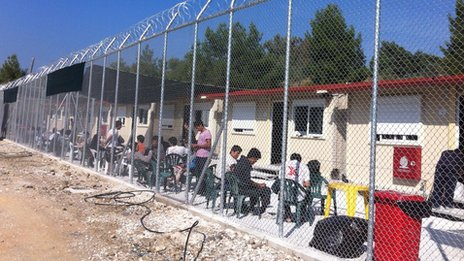 Exterior of Moria camp