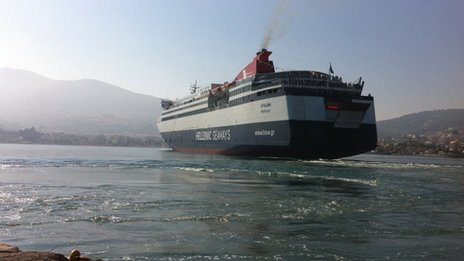 Ferry leaving Lesbos for Athens