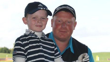 Charlie Boys and his father Gareth, at Clays Golf Club, Wrexham