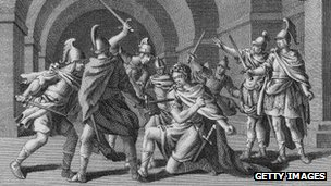 A 16th Century engraving of the murder of Julius Caesar.