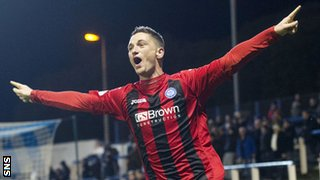 St Johnstone midfielder Gary McDonald celebrates after scoring against Morton