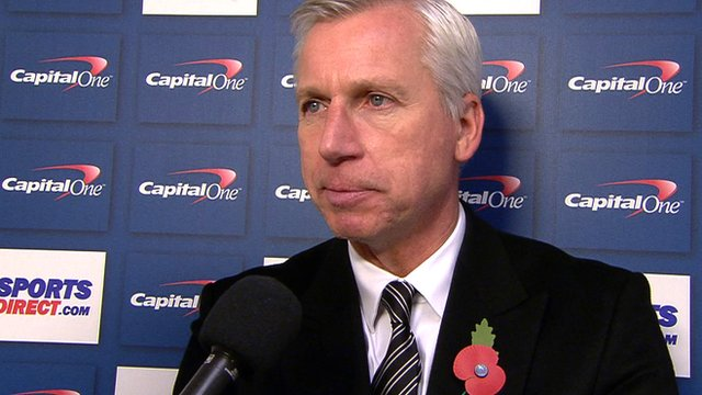 Alan Pardew talks after a 2-0 home League Cup defeat to Manchester City.