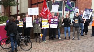picket line at Bristol University