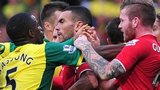 Norwich and Cardiff players scuffle at the end of their Premier League fixture