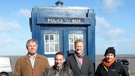 South East Today reporter Robin Gibson, producer Stuart Maisner, presenter Rob Smith and camera operator Deborah Collins in front of Tardis