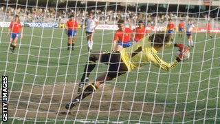 England goalkeeper Ray Clemence saves a penalty during the European Championship match against Spain in Naples, Italy, in 1980