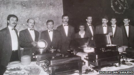Staff at Holiday Inn, Sarajevo, for New Year's Eve buffet, 1993