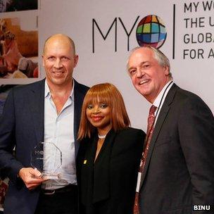 Gour Lentell (L), Zoleka Mandela and Paul Polman, CEO of Unilever