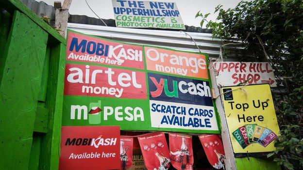 Mobile money kiosk in Nairobi