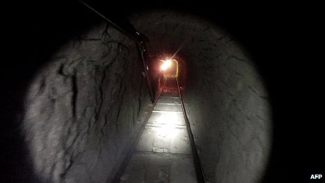 An image of a tunnel discovered under the US-Mexico border, released by the US Immigration and Customs Enforcement on 31 October 2013