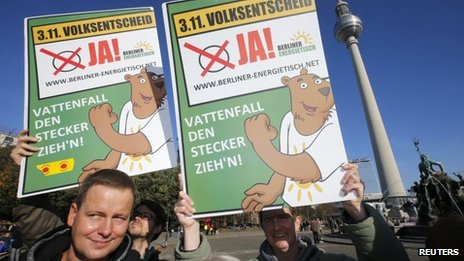 "Activists hold posters which read ""Vattenfall pull the plug!"" as they take part in a protest urging a ""yes"" vote on whether the electricity grid be returned to public ownership in Berlin on Thursday"