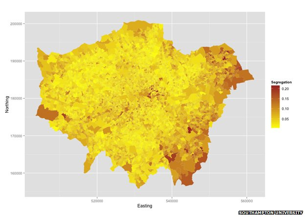 Segregation map of London