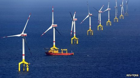 Wind turbines in the BARD offshore wind farm, 100km (62 miles) north-west of the German island of Borkum, in the North Sea on 26 August 2013