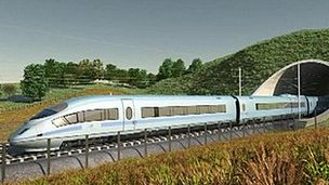 Mock-up image of HS2 train